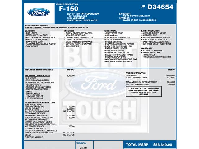 2018 Ford F-150 XLT (Stk: C6307) in Concord - Image 1 of 1