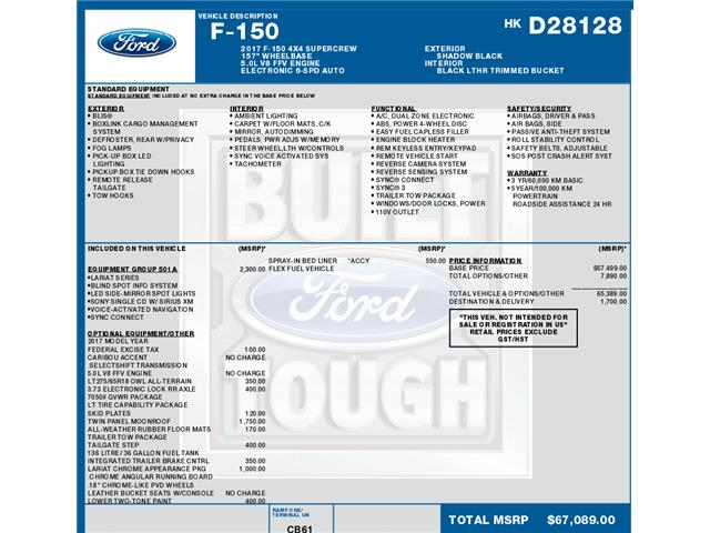 2017 Ford F-150 Lariat (Stk: C6308) in Concord - Image 1 of 1