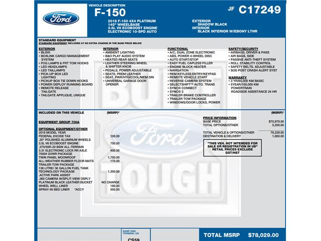 2018 Ford F-150 Platinum (Stk: C6316) in Concord - Image 1 of 1