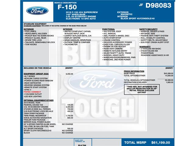 2018 Ford F-150 XLT (Stk: C6327) in Concord - Image 1 of 1