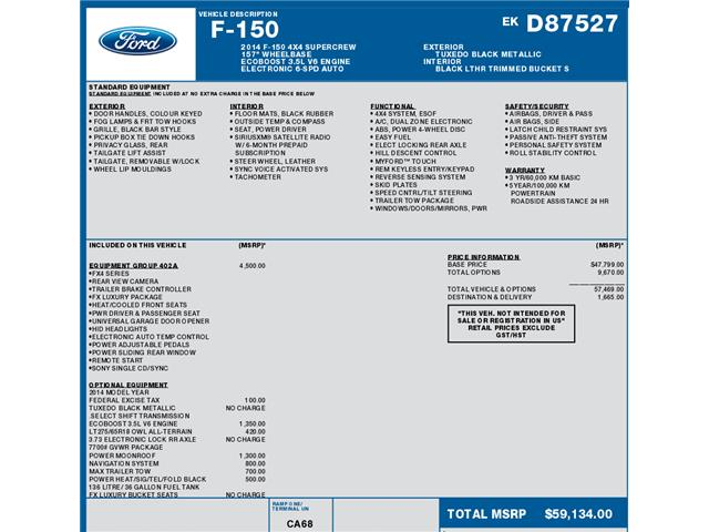 2014 Ford F-150 FX4 (Stk: C6369) in Concord - Image 1 of 1