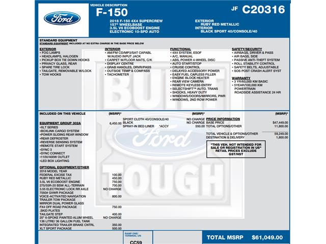 2018 Ford F-150 XLT (Stk: C6513) in Concord - Image 1 of 1