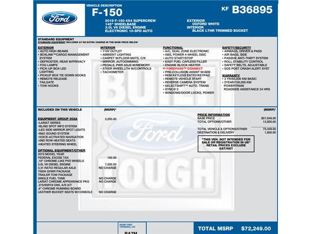 2019 Ford F-150 Lariat (Stk: C6522) in Concord - Image 1 of 1