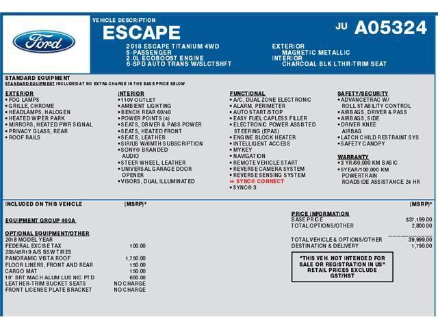 2018 Ford Escape Titanium (Stk: C6535) in Concord - Image 1 of 1