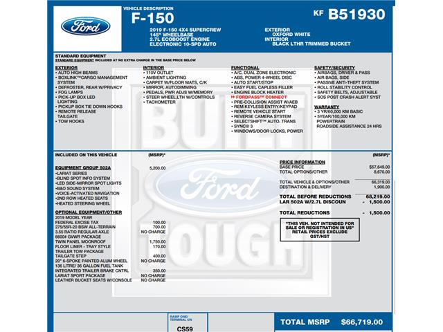 2019 Ford F-150 Lariat (Stk: C6619) in Concord - Image 1 of 1