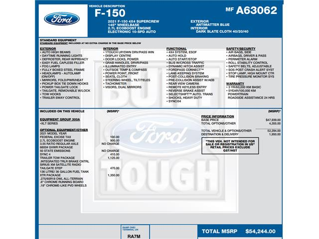 2021 Ford F-150 XLT (Stk: C6624) in Concord - Image 1 of 1
